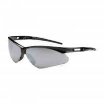 Anser™ Semi-Rimless Safety Glasses with Black Frame, Silver Mirror Lens and Anti-Scratch Coating  (#250-AN-10125)