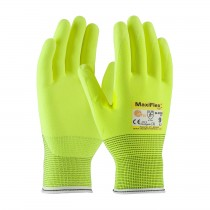 MaxiFlex® Cut™ Hi-Vis Seamless Knit Engineered Yarn Glove with Premium Nitrile Coated MicroFoam Grip on Palm & Fingers (#34-8743FY)