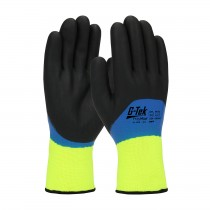 G-Tek® PolyKor® Hi-Vis Seamless Knit PolyKor® Blended Glove with Acrylic Liner and Double-Dipped Nitrile Coated Foam Grip on Full Hand  (#41-1415)