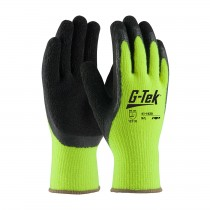G-Tek® Hi-Vis Seamless Knit Acrylic Terry Glove with Latex Coated Crinkle Grip on Palm & Fingers  (#41-1420)