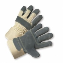 PIP® Side Split Cowhide Leather Double Palm Glove with Canvas Back - Rubberized Safety Cuff  (#500DP-AA)