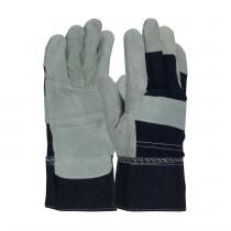 PIP® Economy Grade Shoulder Split Cowhide Leather Reinforced Palm Glove with Denim Back - Denim Safety Cuff  (#500BD-R/L)