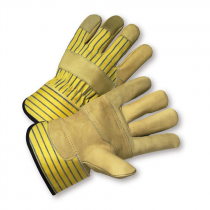 PIP® Regular Grade Top Grain Cowhide Leather Reinforced Palm Glove with Fabric Back - Safety Cuff  (#5050/L)