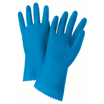 "Premium Flock Lined Blue Latex Gloves, 21 mil, 12"" Length (#52L102)"