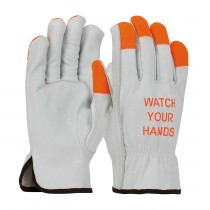 "PIP® Economy Grade Top Grain Cowhide Leather Drivers Glove with Hi-Vis Fingertips and ""Watch Your Hands"" Logo - Keystone Thumb  (#68-162HV)"