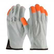 PIP® Regular Grade Top Grain Cowhide Leather Drivers Glove with Hi-Vis Fingertips - Keystone Thumb  (#68-163HV)