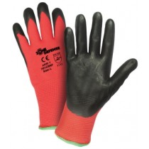 Red Nylon Shell with Black Nitrile Foam Palm Coat Gloves (#701CRNF)