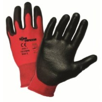 Red Nylon Shell with Black Polyurethane Palm Coat Gloves (#701CRPB)