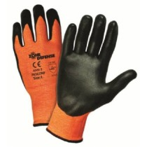 Orange HPPE Shell with Black Nitrile Foam Palm Coat Gloves (#703CONF)