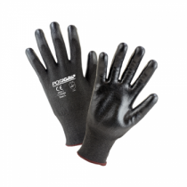 Black HPPE Shell w/Black Polyurethane Dipped Gloves (#713HGBU)