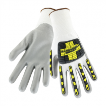 Barracuda White HPPE Shell with Grey PU Dip Cut Protection Gloves Back of Hand TPR Protection (#713HGWUB)