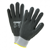 Black Foam Nitrile Full Dip on Gray Nylon/Spandex Shell with Dotted Palm Glove (#715SNFTFD)