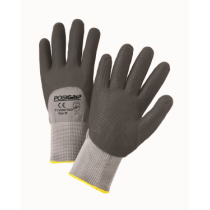 Black Foam Nitrile 3/4 Dip on Gray Nylon Shell with Dotted Palm (#715SNFTKD)