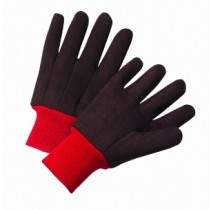 Standard Poly/Cotton Brown Jersey Gloves with Red Knit Wrist (#750RKW)