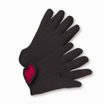 100% Cotton Brown Jersey 100% Red Fleece Lined Gloves (#755C)