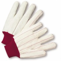 West Chester® Cotton Canvas Double Palm Glove with Nap-in Finish - Red Knitwrist  (#790NIR)