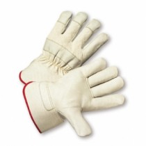 PIP® Premium Grade Top Grain Cowhide Leather Palm Glove with Fabric Back - Gauntlet Cuff  (#8000)