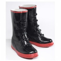 Black PVC 5 Buckle Boot (#8250)