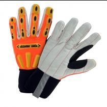 R2 Winter Corded Palm Rigger Glove with Long Neoprene Cuff - Hi-Viz Orange (#86801)