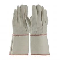PIP® Premium Grade Cotton Canvas Single Palm Glove - Starched Gauntlet Cuff  (#90-910G)