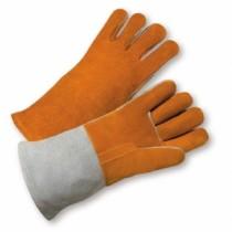 Select Brown/Grey Split Cowhide Leather Welder Gloves (#9401)
