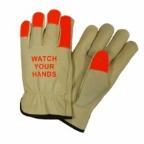 "PIP® Select Grade Top Grain Cowhide Leather Drivers Glove with Hi-Vis Fingertips and ""Watch Your Hands"" Logo - Keystone Thumb  (#990KOT)"