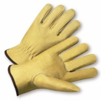 PIP® Top Grain Pigskin Leather Glove with Red Fleece Lining - Keystone Thumb Economy Grade  (#994KF)