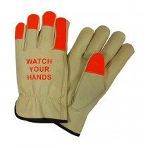 Posi-Therm® Regular Grade Top Grain Pigskin Leather Drivers Glove with Posi-Therm® Linging and Hi-Vis Fingertips - Keystone Thumb  (#994KOTP)