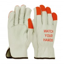 "PIP® Top Grain Cowhide Leather Drivers Glove with Hi-Vis Fingertips and ""Watch Your Hands"" Logo - Keystone Thumb  (#995KOT)"