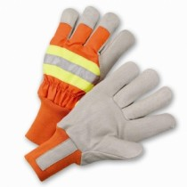 PIP Top Grain Pigskin Leather Palm Glove with Hi-Vis Nylon Back and Posi-Therm® Liner - Knit Wrist  (#HVO1555)