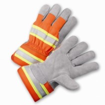 PIP® Premium Split Cowhide Leather Palm Glove with Hi-Vis Nylon Back - Rubberized Safety Cuff  (#HVO500)