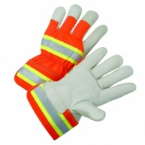 PIP® Top Grain Cowhide Leather Palm Glove with Hi-Vis Fabric Back - Rubberized Safety Cuff  (#HVO5000)