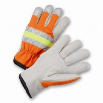 PIP® Top Grain Cowhide Leather Palm Drivers Glove with Hi-Vis Fabric Back  (#HVO990K)