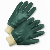 Standard Rough Green PVC, Jersey Lined, Knit Wrist Gloves, Women's (#J1207RFL)
