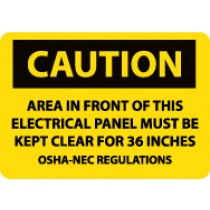 Caution Area In Front Of This Electrical Panel… Machine Label (#C115AP)
