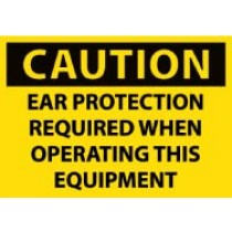 Caution Ear Protection Required When Operating This Equipment Machine Label (#C382AP)