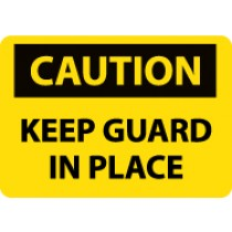 Caution Keep Guard In Place Machine Label (#C535AP)
