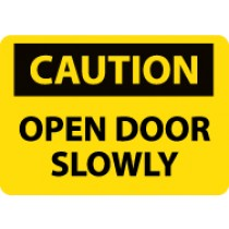 Caution Open Door Slowly Machine Label (#C55AP)