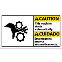 Caution This Machine Starts Automatically Spanish Sign (#CBA10)