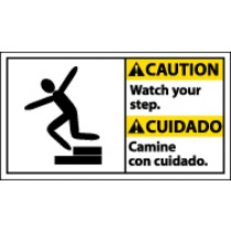 Caution Watch Your Step Spanish Sign (#CBA6)
