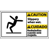 Caution Slippery When Wet Spanish Sign (#CBA7)