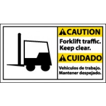 Caution Forklift Traffic. Keep Clear. Spanish Sign (#CBA8)