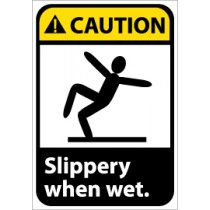 Caution Slippery when wet ANSI Sign (#CGA14)