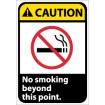 Caution No smoking beyond this point ANSI Sign (#CGA2)