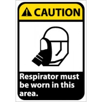 Caution Respirator must be worn in this area ANSI Sign (#CGA33)