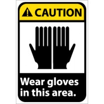 Caution Wear Gloves in this Area ANSI Sign (#CGA35)