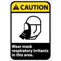 Caution Wear Mask Respiratory Irritants in this Area ANSI Sign (#CGA36)