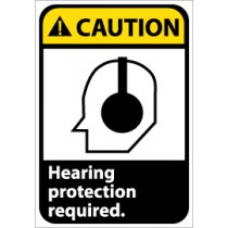 Caution Hearing protection required ANSI Sign (#CGA5)