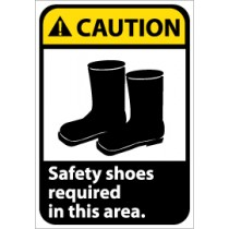 Caution Safety shoes required in this area ANSI Sign (#CGA9)