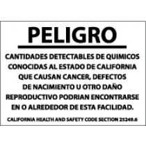 Peligro Cantitades Detectables De Quimicas… Sign (#CP12)